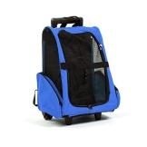 Aursen® Hundetrolley Tiertragetasche Hunde Trolley Rucksack für Hunde und Katze mit Rollen abnehmbar Hundetasche (blau) - 1